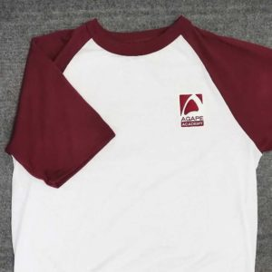 Burgundy and white jersey embroidered for Agape Academy