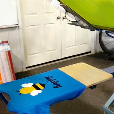 Screen printing of a t-shirt.