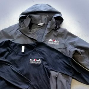 Gray jacket and blue long sleeve t-shirt embroidered for MidArk Insurance Group
