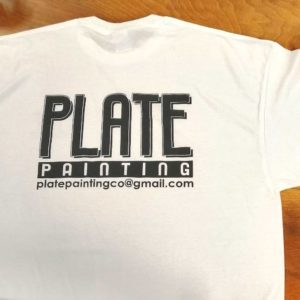 White t-shirt screen printed for Plate Painting